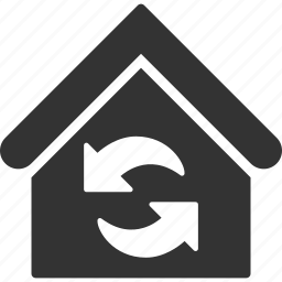 building, home, house, real estate, refresh, reload, update icon