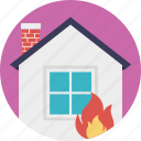 burning house, fire insurance, fire security, home fire, house insurance icon