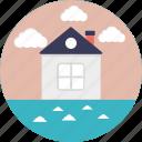 beach house, beach villa, cottage over sea, resort, sea house icon