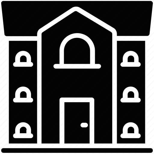 apartment, building, building front, house, residential building icon