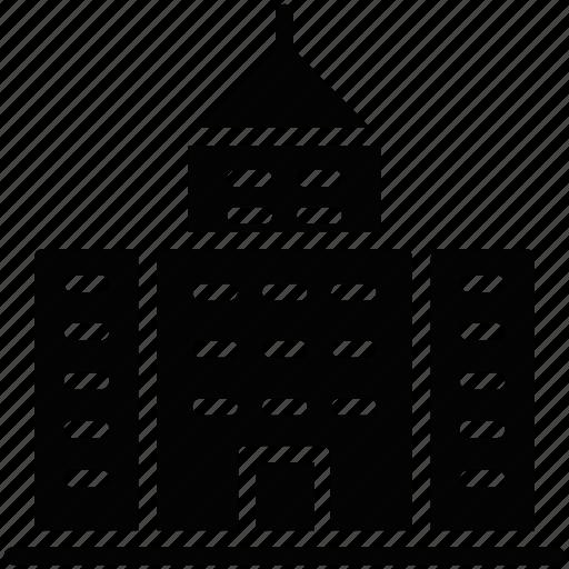 arcade, building front, condominium, residential building, residential glyphs icon