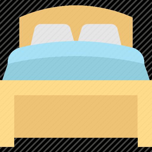 bed, bedroom, double bed, hotel room, sleep icon