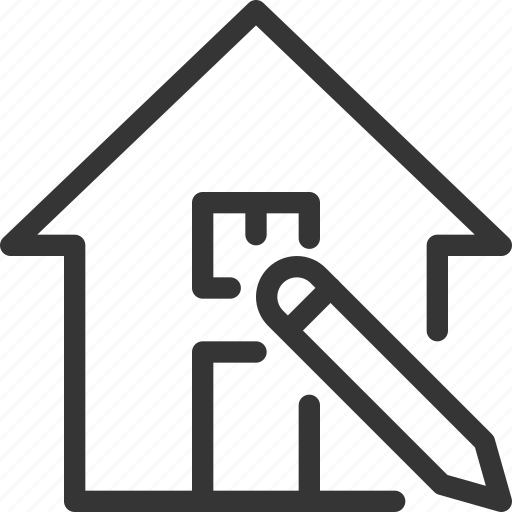 architecture, building, house, pencil, real estate, save, write icon