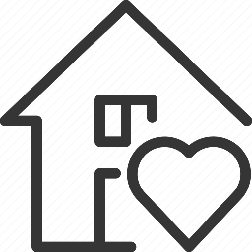 architecture, building, estate, heart, house, love, real icon