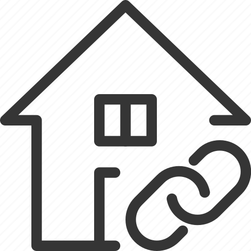 architecture, building, estate, house, link, real icon