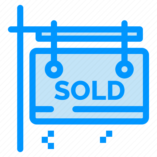 board, estate, real, sign, sold icon