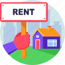 board, house, property, real estate, rent, sign icon