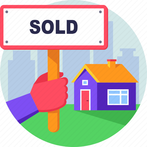 property, real estate, sale, sign, sold icon