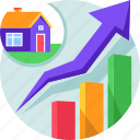 graph, growth, investment, profit, property, real estate, report icon