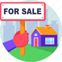 for sale, house, property, real estate, sale icon