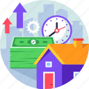 growth, house, income, investment, profit, property, real estate icon