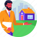 agent, consultant, help, real estate, realtor, service icon
