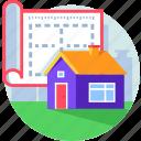 architecture, design, house, interior, plan, property icon