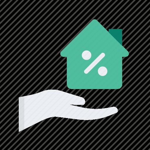 care, discount, estate, percentage, property, real, sale icon