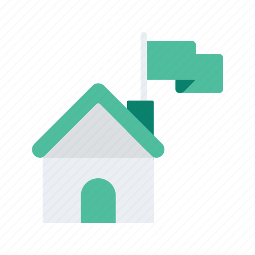 estate, flag, house, property, real icon