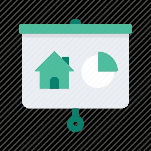 estate, graph, presentation, property, real icon