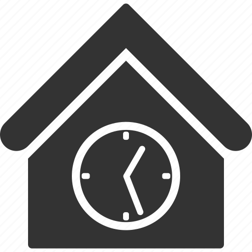 address, building, clock, home, house, real estate, time icon