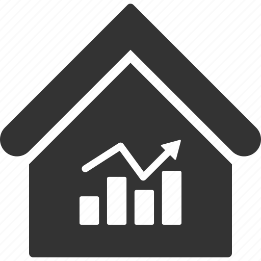 accounting, broker, building, charts, house, real estate, stock market icon