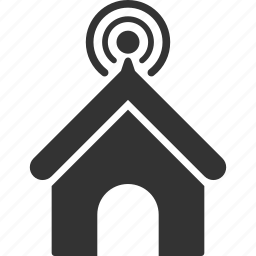 building, communication, home, house, real estate, signal, telecom icon
