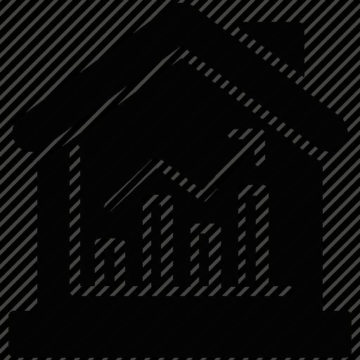 estate business, estate economics, property value, real estate graph, real estate market icon
