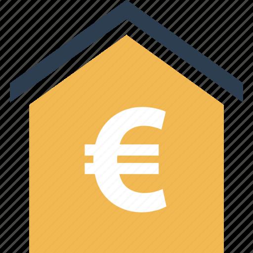 buy, estate, euro, home, real, shopping, sign icon