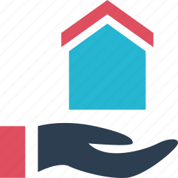 estate, hand, holding, home, house, real, shopping icon