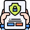 document, contract, hand, secure, insurance, padlock