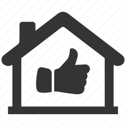 estate, home, house, like, property, real, thumbs up icon