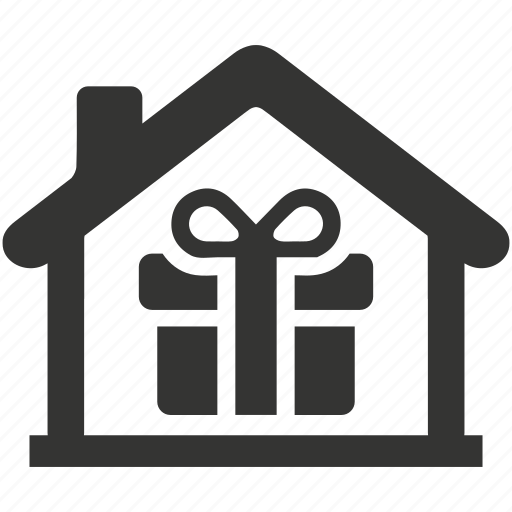 delivery, gift, home, home present, house, package, real estate icon