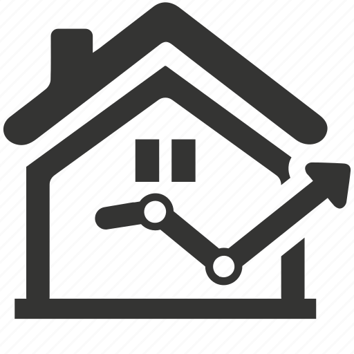 analytics, growth, house, real estate, real estate statistics, statistics icon