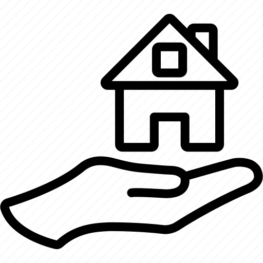 estate, hand, home, house, on, property, real icon
