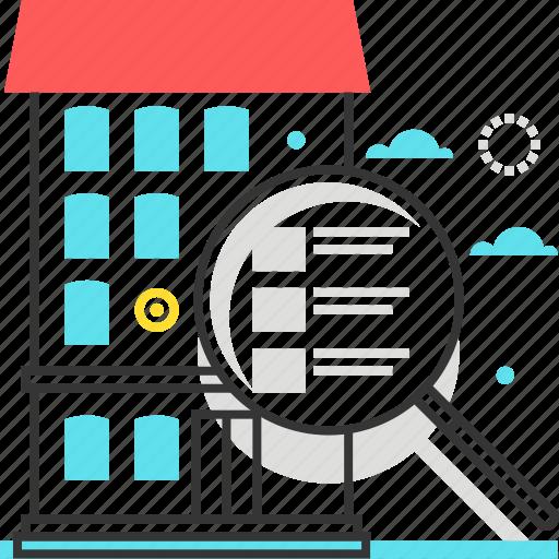 find, list, magnifier, real estate, website icon