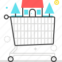 basket, house, market, shopping cart icon