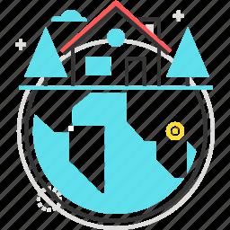 find, globe, house, locate, real estate icon