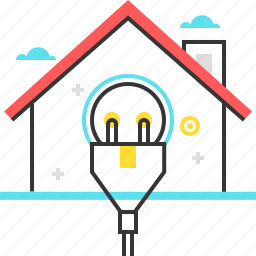 building, electric, energy, home, house, plug icon