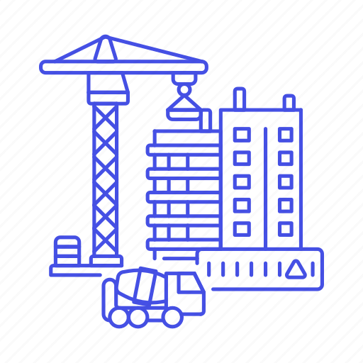 apartment, building, concrete, construction, crane, edifice, estate, real, site, truck icon