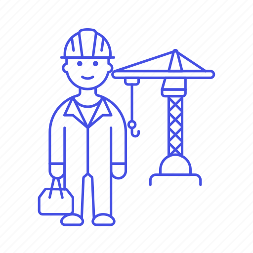 builder, building, construction, crain, crane, estate, hardhat, male, real, site, toolbox, worker icon