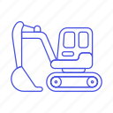 1, building, construction, equipment, estate, excavator, heavy, machine, real, site, tools icon