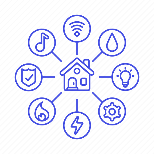 estate, house, info, information, insurance, power, real, security, smart, utilities, water, wifi icon
