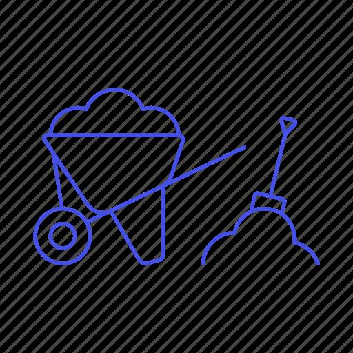 building, construction, dirt, estate, load, machine, of, real, shovel, site, tools, wheelbarrow icon
