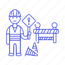 barrier, builder, building, construction, estate, male, real, sign, site, traffic, worker icon