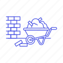 bricks, building, construction, estate, load, machine, real, site, tools, wall, wheelbarrow icon