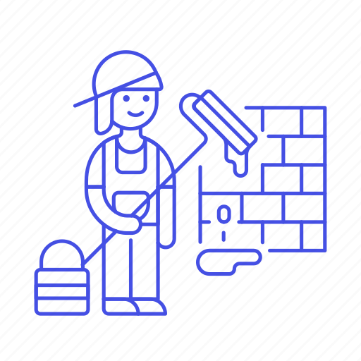 brush, bucket, building, construction, estate, female, full, painter, real, roller, site, wall icon