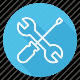 apartment, building, estate, house, monument, real, repair tools cross icon