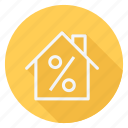 apartment, building, discount, house, monument, persentage, real icon