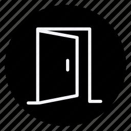 apartment, building, door, estate, house, open door, real icon