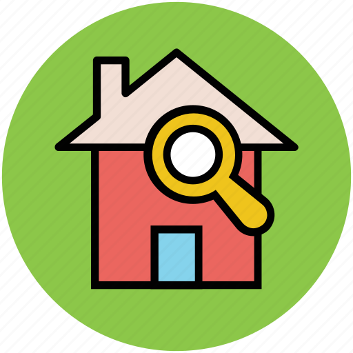 find, house, magnifier, real estate, search, searching home icon