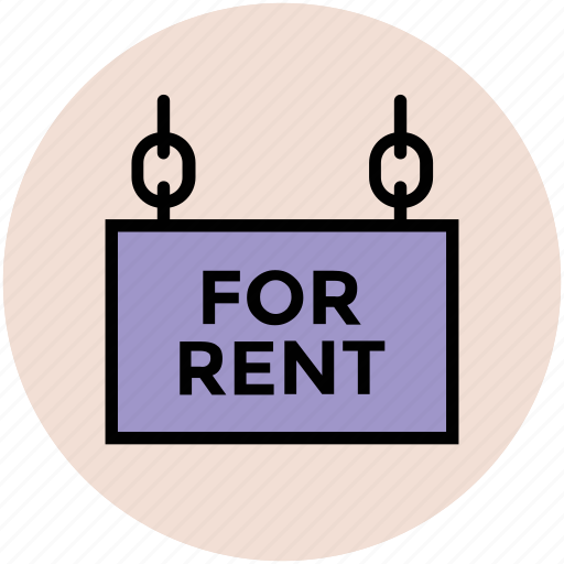 for rent, house rent, property rent, rent board, sign board icon