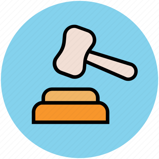 auction, court, court mallet, gavel, hammer, justice, law icon