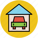 car, car in garage, garage, home garage, parking lot, porch icon